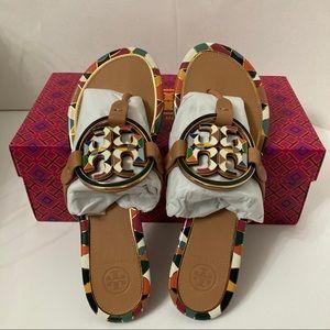 Tory Burch Enamel Miller Aged Vachetta Sandals